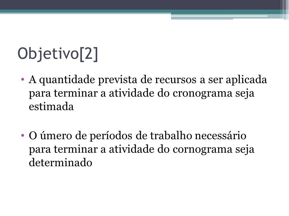 Objetivo[2] A quantidade prevista de recursos a ser aplicada para terminar a atividade do cronograma seja estimada.